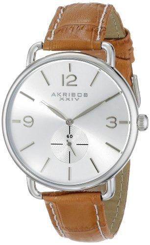 Akribos Xxiv Women'S Ak658Or Essential Quartz Stainless Steel Tan Leather Strap Watch