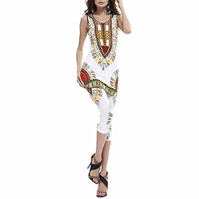 Women Summer African Design Printed Vests Sets Plus Size Slim Vests+Pants