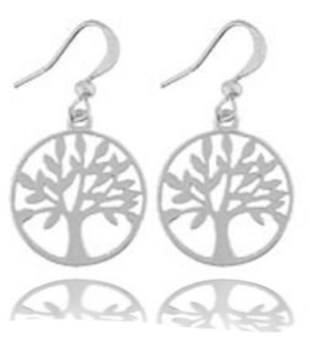 LAVISHY Tree of Life Open Filigree Medallion Dangle Earrings - Matte Silver over Pewter
