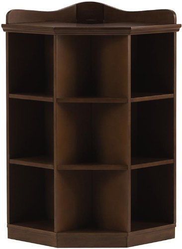 Kids 3-Shelf Brown Wood Tone Corner Book Storage