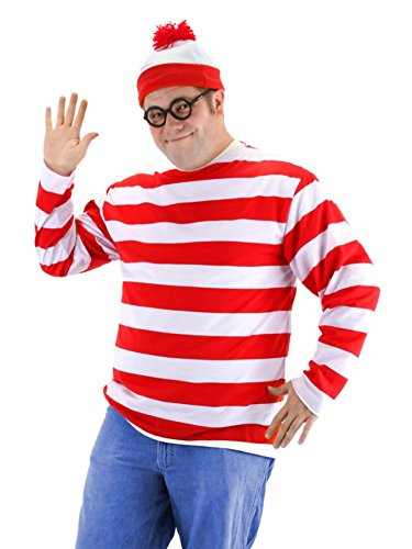 Mens Wheres Waldo Costume with Red & White Striped Shirt Hat & Glasses XXL