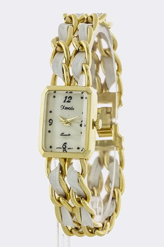 Trendy Fashion Jewelry Rectangle Strap Chain Watch By Fashion Destination | (White)