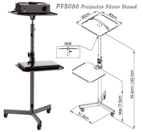 PFS066 Projector Trolley Floor Stand Height Adjustable w/ Removable Tray for Laptop, DVD Player, Blu-ray Players