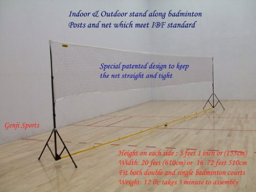 Genji Sports Portable Indoor Badminton, Outdoor Post and Net Set