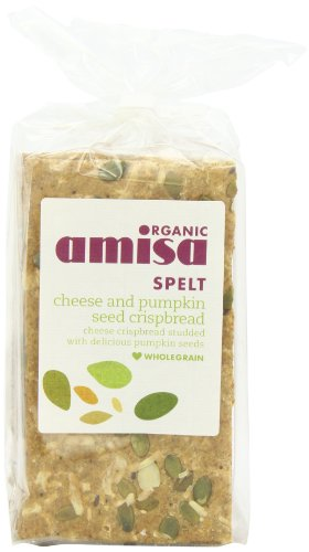 Amisa Organic Spelt Cheese Pumpkinseed Crispbread 200 g (Pack of 6)