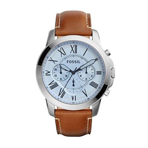 Fossil FS5184 - Reloj de cuarzo con correa de cuero para hombre, color plateado / marrón