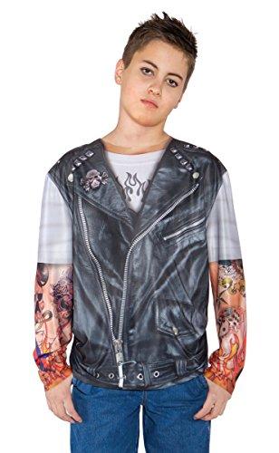[Underwraps Kids Biker T-Shirt] (Biker Kid Costume)