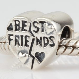 Solid Silver Heart Shaped Best Friends Charm Bead fits Pandora, Trollbeads, Biagi, Chamilia, Tedora, Amore and any similar 3mm bracelets