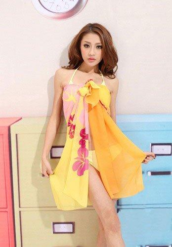 Tamari Yellow Flower Print Sarong Beach Cover Up For Women