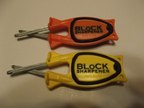 For 2 New Style 2014 (Block Sharpeners) 1Yellow & 1Orange With Our New Patented Black Anti-Slip Grip
