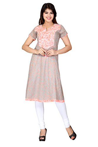 Lifestyle Lifestyle Retail Women Rayon Anarkali (TRN10176064_Grey_Large) (Multicolor)