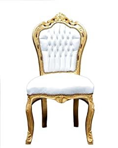 Baroque Dining Room Chair White Gold Kitchen Home