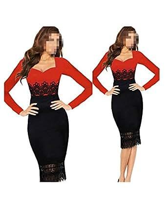 WIIPU Womens Sexy Pencil dress Career Splicing red Fit Slim lace Dress(J386)- Small