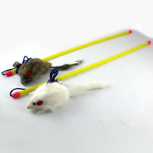 Dangle Mouse Pet Toy with a Bell-Colors White