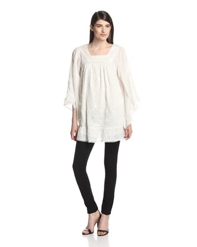 Anna Sui Women's Embroidered Voile Tunic  [White]