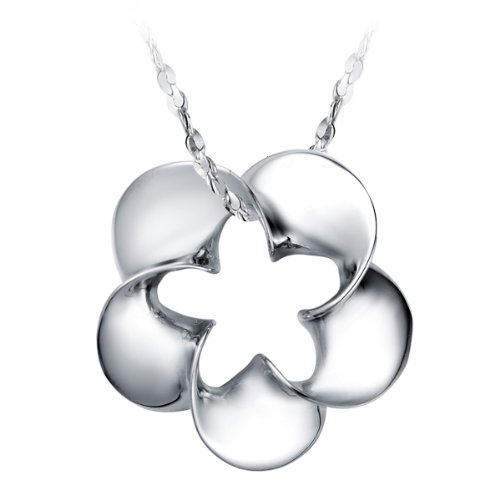Virgin Shine Platinum-Plate Necklace With Hollow Five Star Flower Pendant