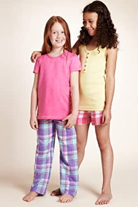 2 Pack - Older Girls' Pure Cotton Assorted Woven Pyjamas