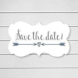36- Save The Date Wedding Envelope Seals (#366) (Navy)