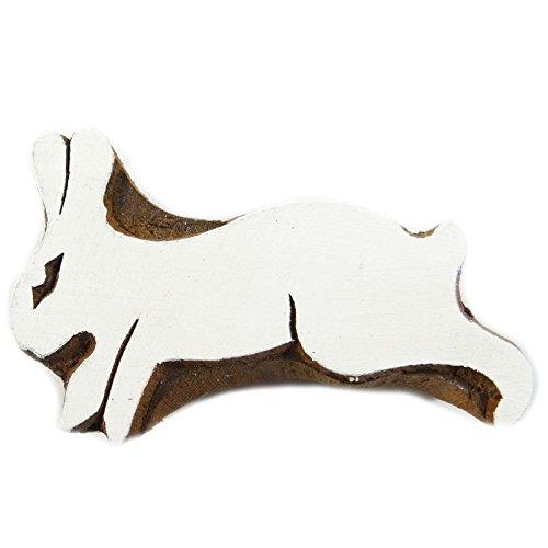 Wooden Mehndi Blockstamp Brown Rabbit Design Textile Fabric Printing Apparel Art Gift India