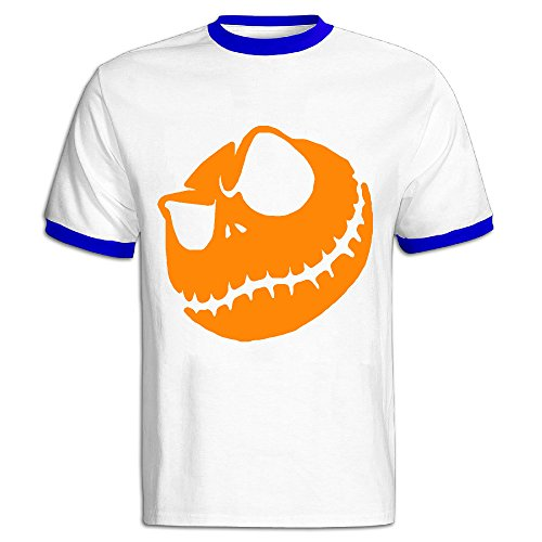 CHALZ Men's Halloween Pumpkin King Logo Crew Neck T Shirt S RoyalBlue (Cute Halloween Pic)