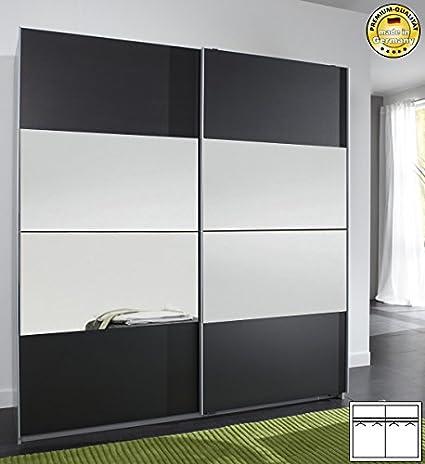Schwebeturenschrank Kleiderschrank 585875 alu / anthrazit mit Spiegel 180cm