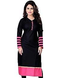 Kurti (Sai Fab Women's Cotton Printed Black & Pink Kurti) ( Free Size Altrable Till 42-44 OR XL)