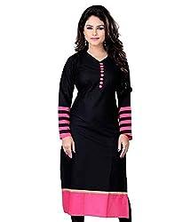 Sai Fab Women's Cotton Printed Black & Pink Kurti ( Free Size Altrable Till 42-44 OR XL)