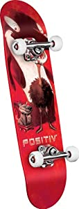 POSITIV Team Animal King Mini Complete Skateboard (Red, 7.5-Inch)