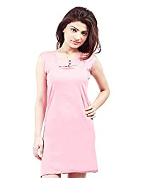 Grahcjows Creations Women's Dress (GCDRS1019_Baby Pink_Large)