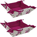 ELAN Cotton Rose Print Fruit Basket 20 X 20 X 6 CM (Set Of 2)