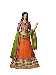 Orange Net And Georgette Lehenga Choli