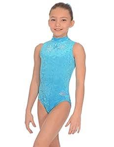 """The Zone Z103STE justaucorps de gymnastique sans manches en velours lisse, turquoise, taille 24"""""""