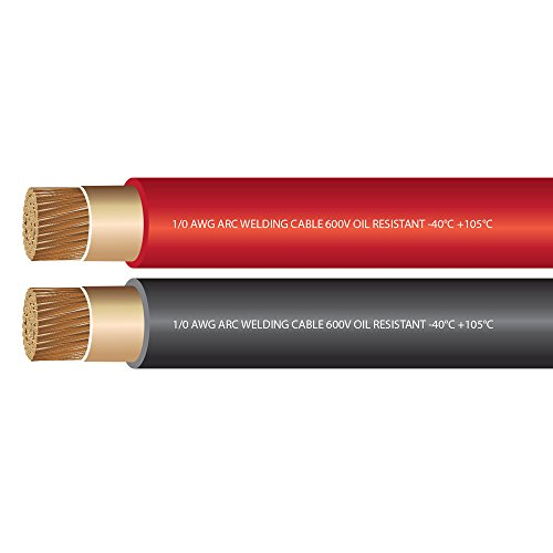1/0 AWG Premium Extra Flexible Welding Cable 600 Volt COMBO PACK - BLACK+RED - 10 FEET OF EACH - EWCS Spec - Made in the USA! (1 0 Gauge Wire compare prices)