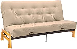 Epic Furnishings Bristol Futon Sofa Sleeper Bed, Full, Natural Frame/Khaki Mattress