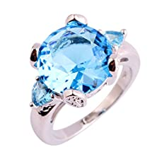 buy Psiroy 925 Sterling Silver Stunning Created Gorgeous Women'S 12Mm*12Mm Pear Cut Blue Topaz Amethyst Filled Ring