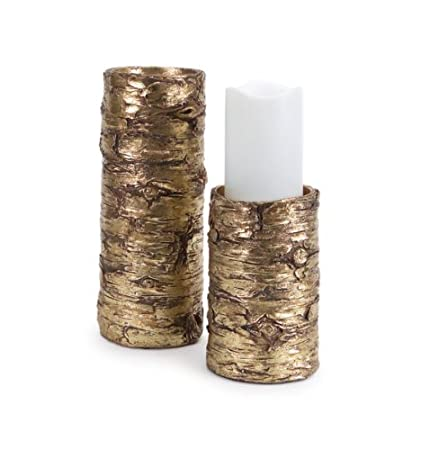 Contemporary Metallic Gold Tree Bark Inspired Set of 2 Pillar Candle Holders by Melrose