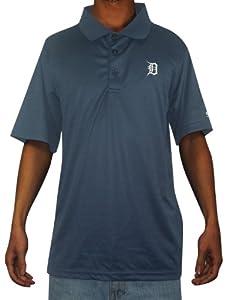 Mens MLB Detroit Tigers Baseball Athletic Short Sleeve Polo Shirt L Dark Blue