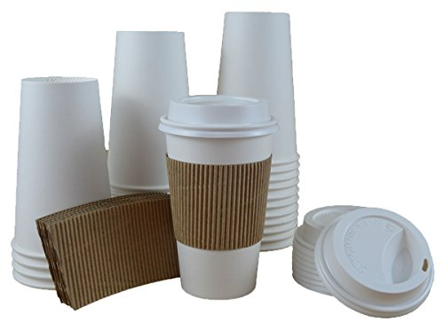 Bizitown Kit: Paper Hot Cups, Lids, & Sleeves; White w/Kraft Wave Sleeve, 16oz (50 Count)