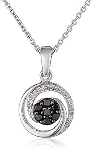 Sterling Silver Black and White Diamond Swirl Pendant Necklace (1/5 cttw, ), 18