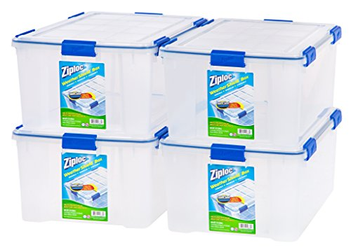 IRIS 60 Quart Ziploc WeatherShield Storage Box, 4 Pack, Clear (Dvd Storage Boxes With Lids compare prices)