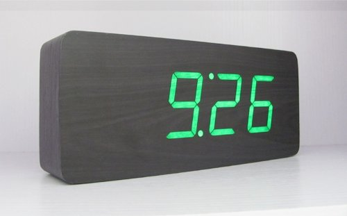 kabb-black-wood-grain-green-led-light-alarm-clock-time-temperature-and-date-sound-control-latest-gen