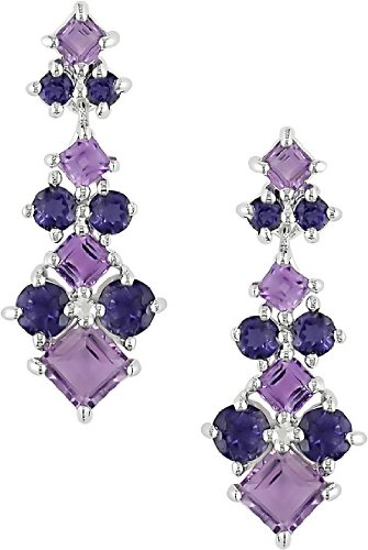 Sterling Silver Iolite and Amethyst Earrings