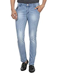 Fever Men's Light Blue Plain Slim Fit Jeans - B01DBX3BVW