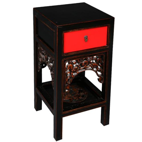 Cheap EXP Handmade Asian Furniture – 29″ Red & Black Wood End Table / Nightstand – Chinese Dragon Design (B001B11FVA)