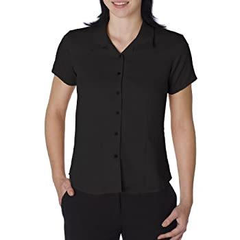 Cubavera Women's Cool Coconut Buttons Camp Shirt, Black, Small