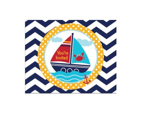 Creative Converting 8 Count Ahoy Matey Sailboat Fold Over Invitations