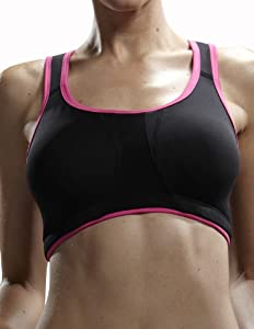 Yvette Women Sports Bra #6033, Black/Rose, 34A/75A