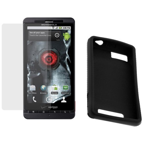 GTMax Black Soft Rubber Silicone Skin Cover Case + Clear LCD Screen Protector Film for Verizon Motorola Droid X CDMA Cell Phone