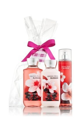 Bath & Body Works Japanese Cherry Blossom Gift Set - All New Daily Trio (Full-Sizes) Daily Bath
