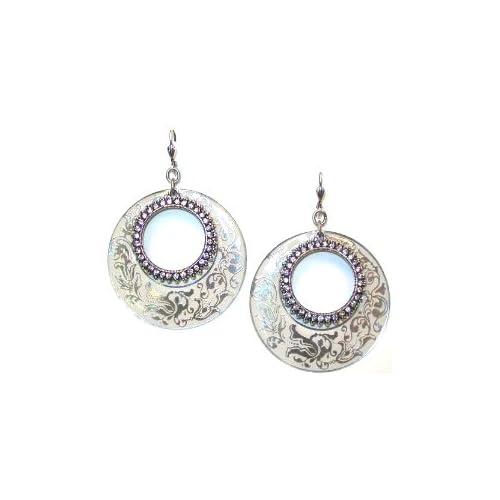 Sterling Silver Plated White Enamel Swarovski Crystals Dangle Earrings